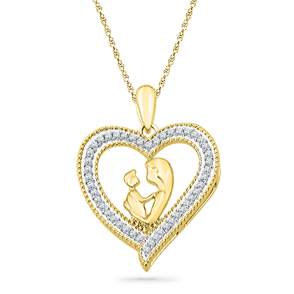 love womens gold embrace mother child heart yellow diamond round p pendant