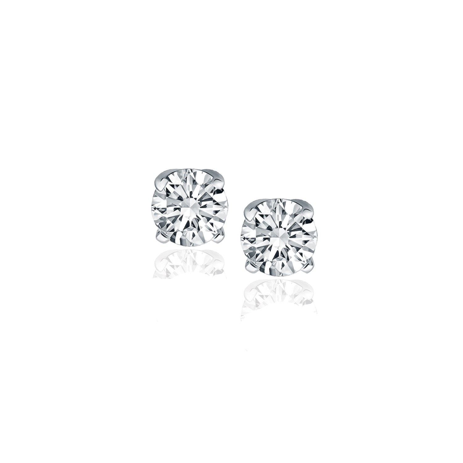 ctw vs round earrings i in diamond white three gold prong martini stud h