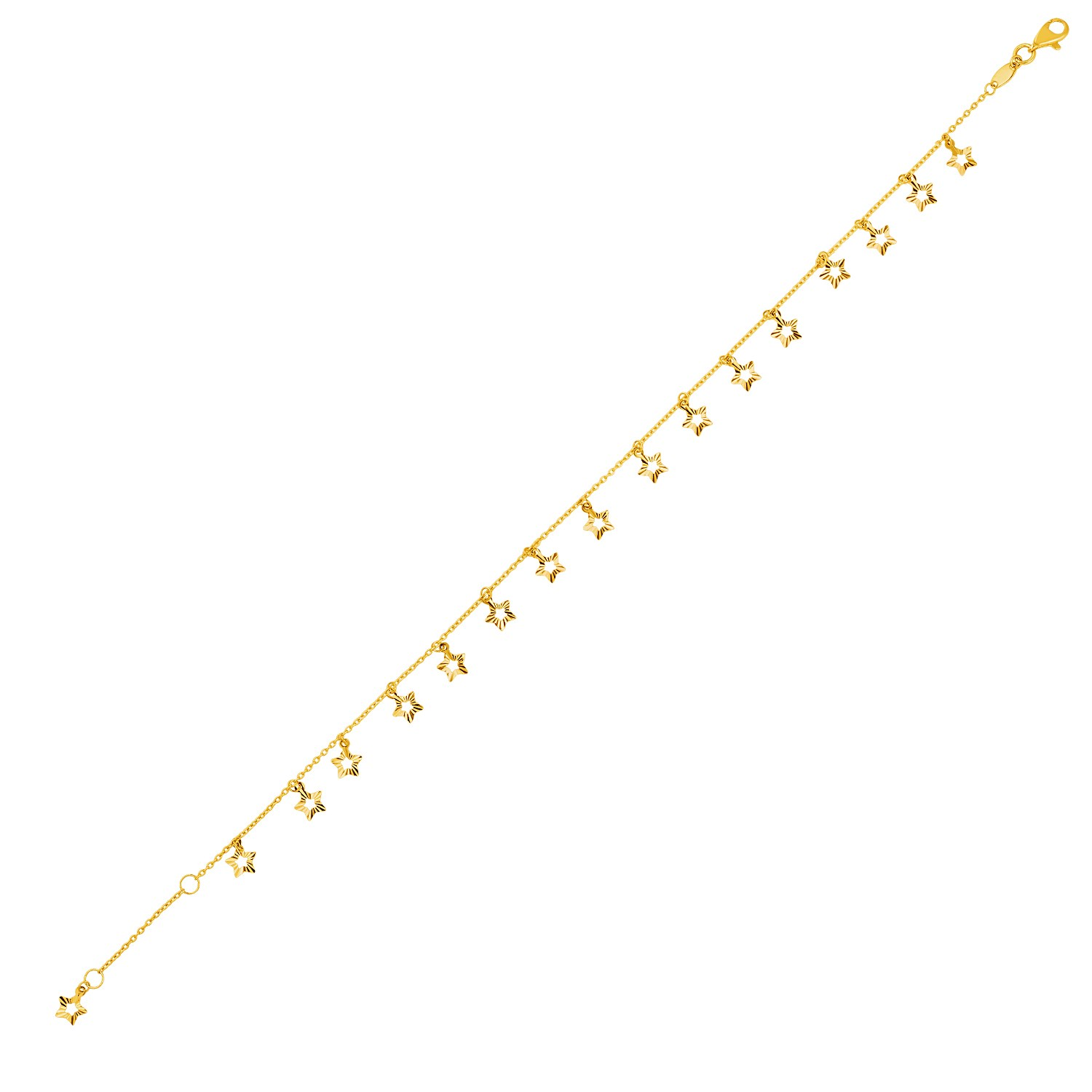 diamond jewelry bracelet cut rope anklet dp and men solid gold for women yellow chain inch com amazon