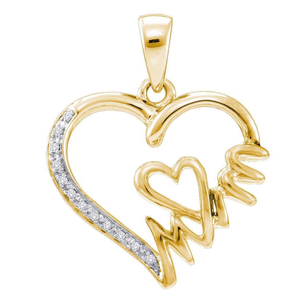 Yellow tone sterling silver womens round diamond mom heart pendant mozeypictures Image collections