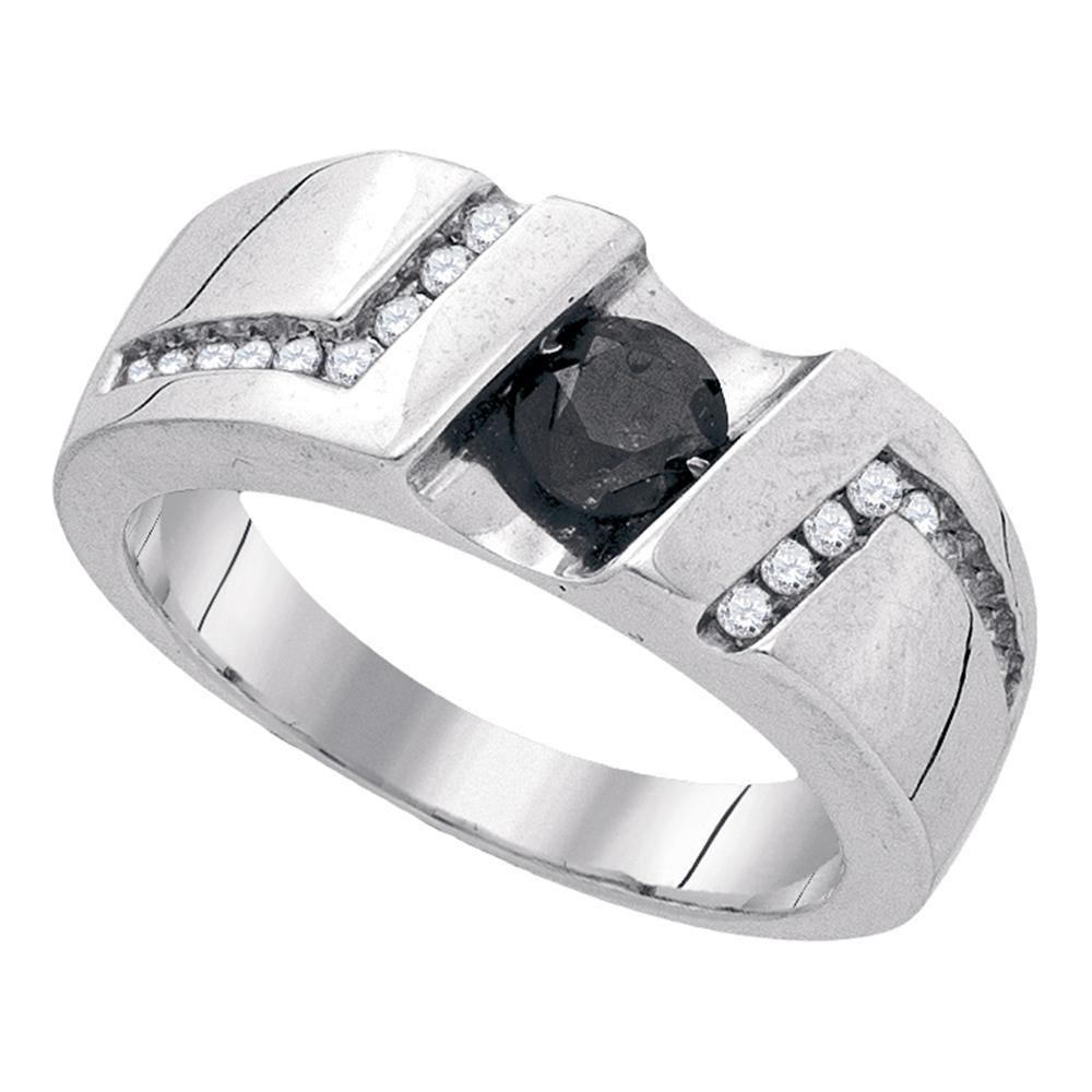 Sterling Silver Mens Round Black Color Enhanced Diamond Cross Religious Ring 1//4 Cttw