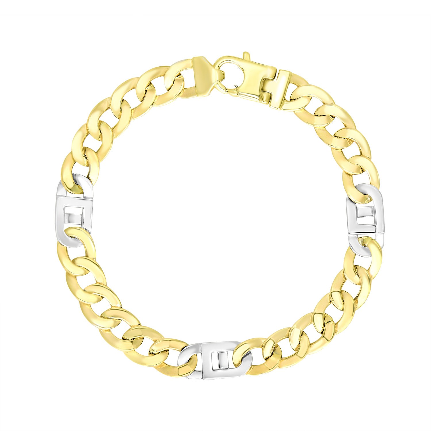 links link with two oval tone bracelet bracelets wrists your smooth gold home and shop textured for