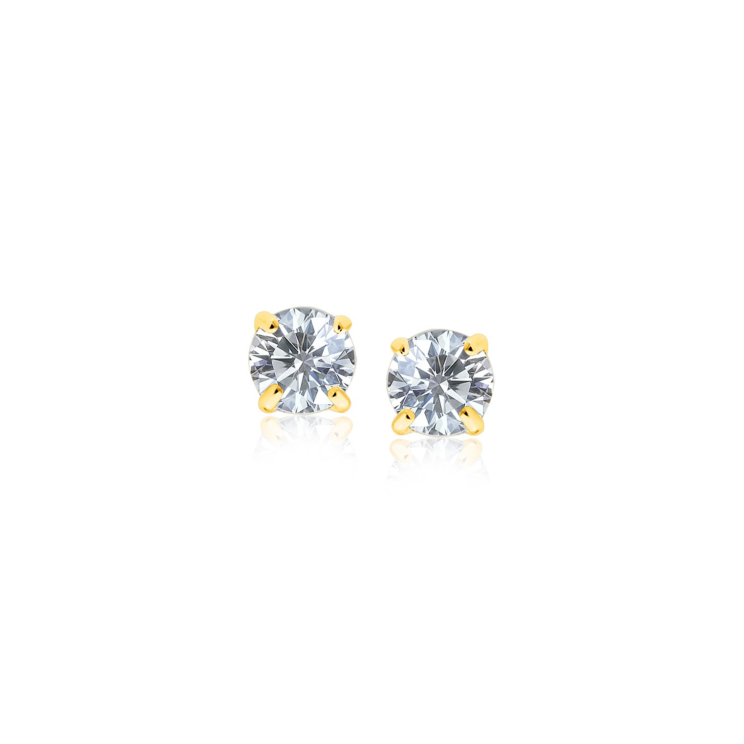 14K Yellow Gold Stud Earrings with White Hue Faceted Cubic Zirco