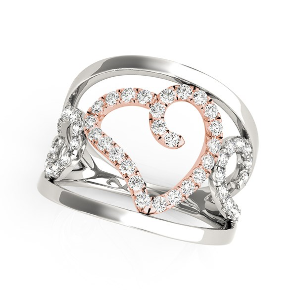 Heart Motif Filigree Style Diamond Ring in 14K White And Rose Go