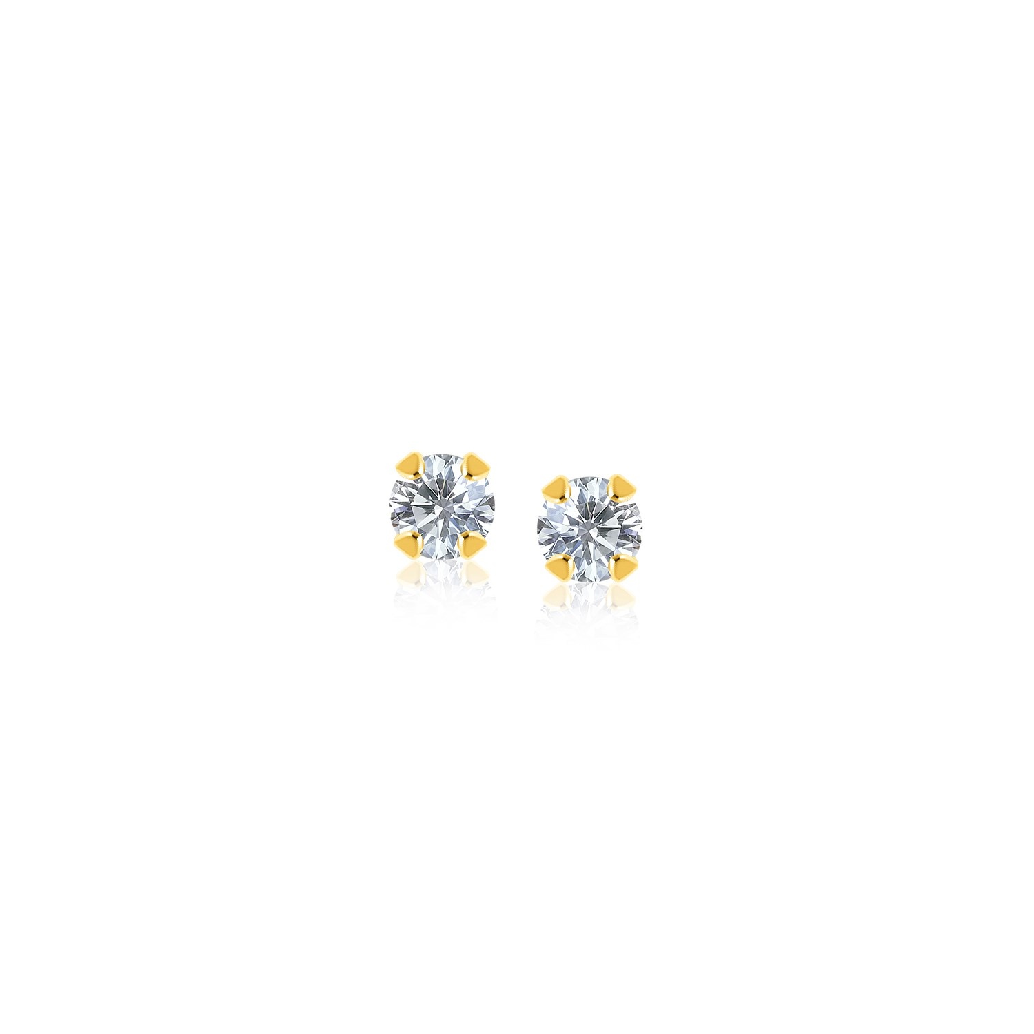 14K Yellow Gold Stud Earrings with Faceted White Cubic Zirconia