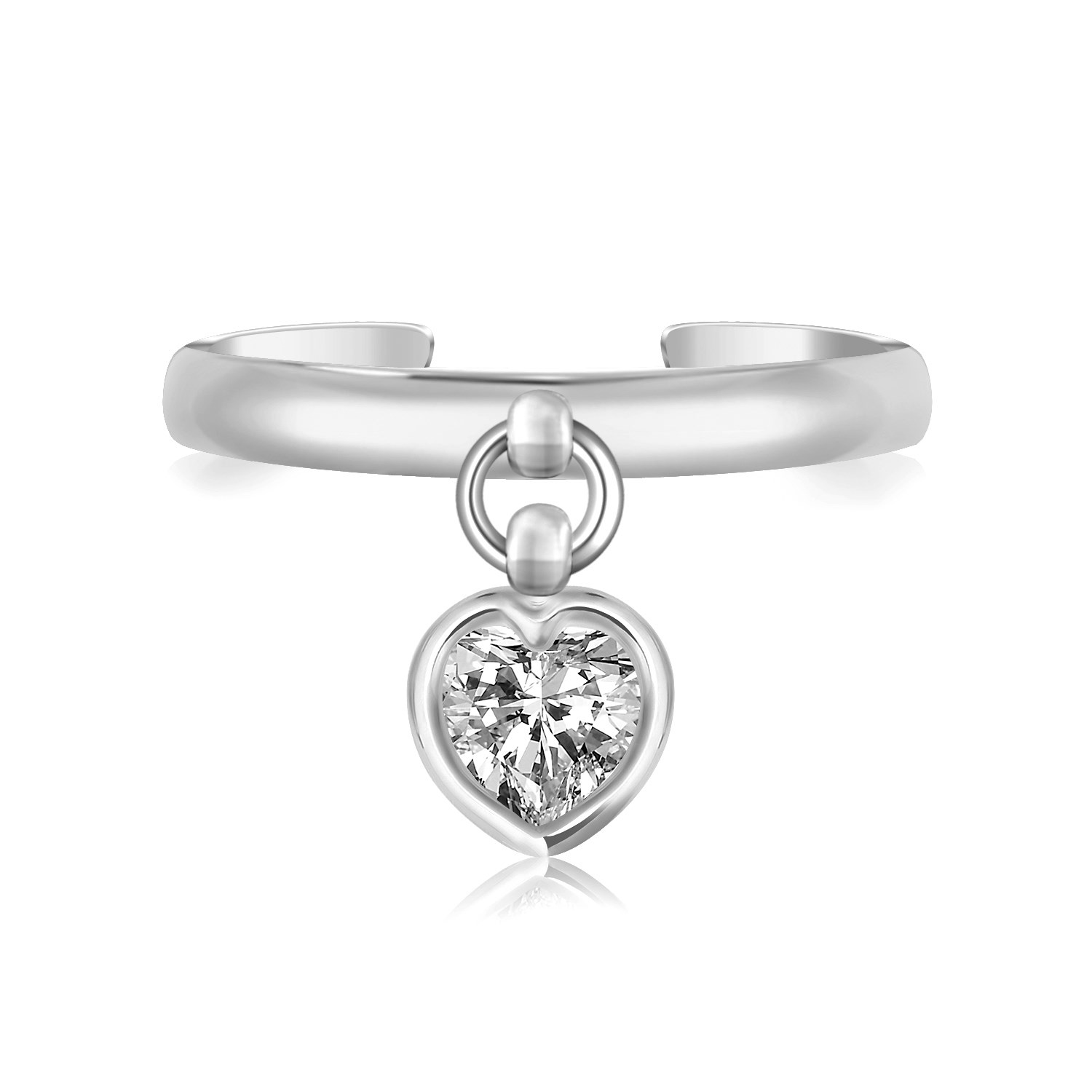 Sterling Silver Rhodium Finished Heart Cubic Zirconia Charm Toe