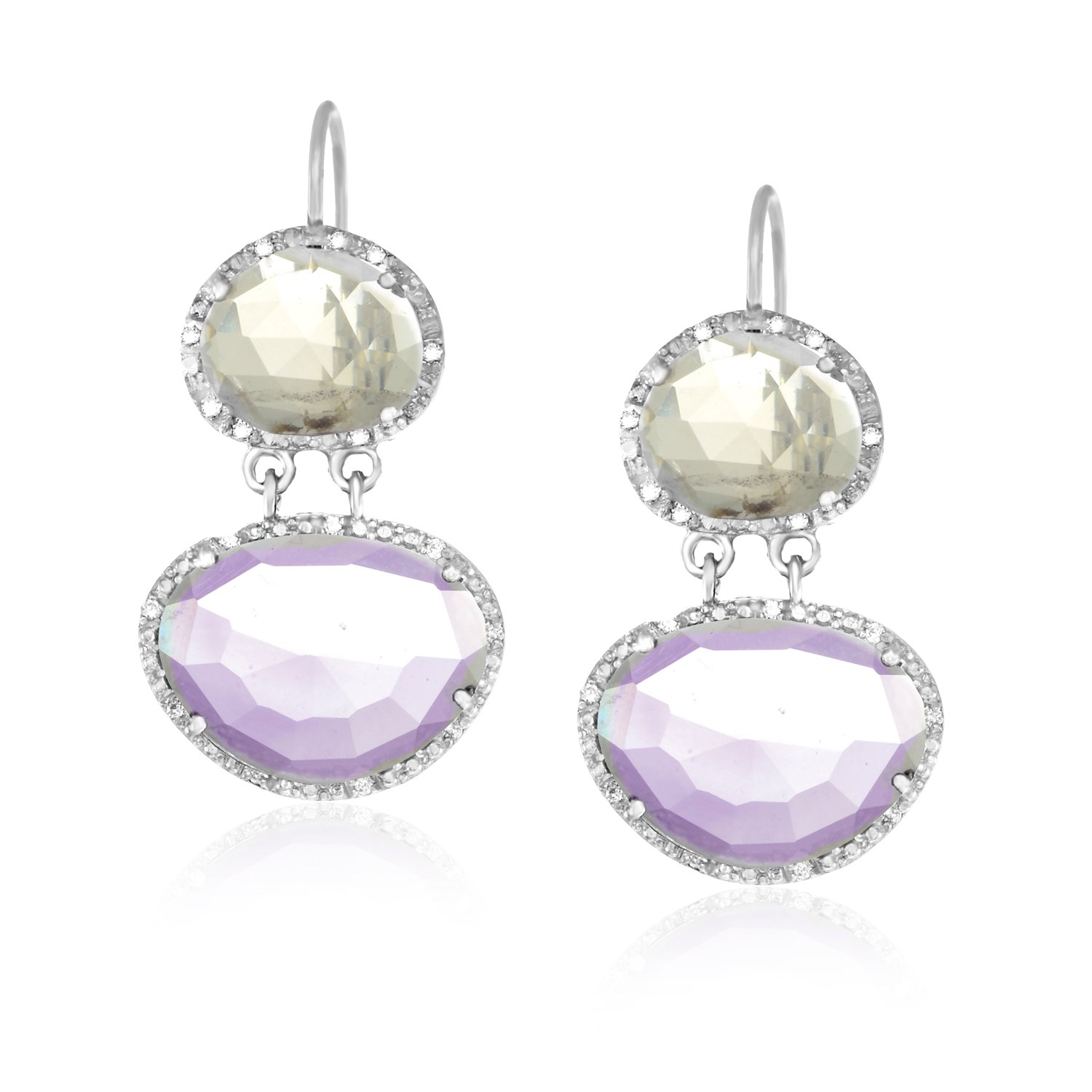 Sterling Silver Layered Earrings with Amethyst  Quartz  and Diamonds