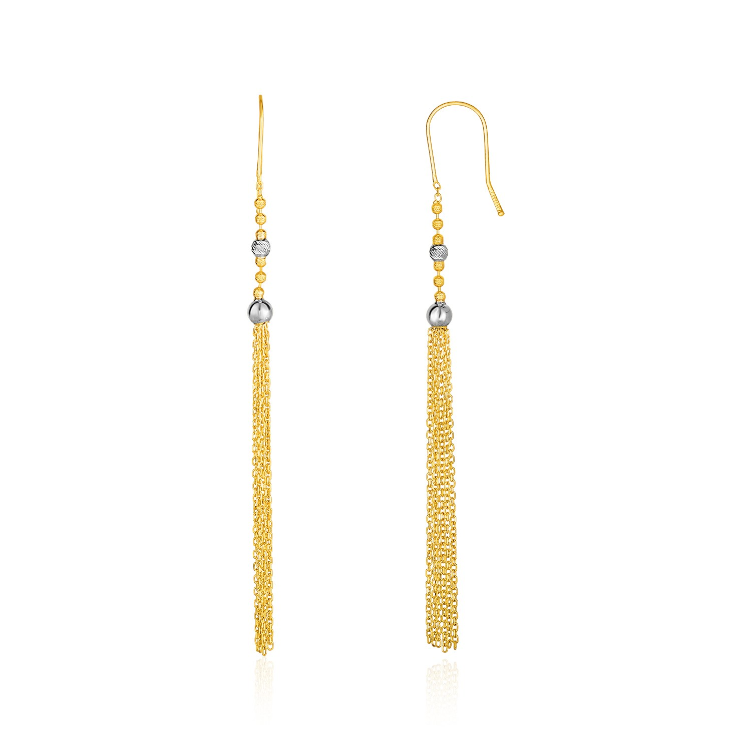 14K Two-Tone Yellow and White Gold Ball and Multi-Strand Tassel
