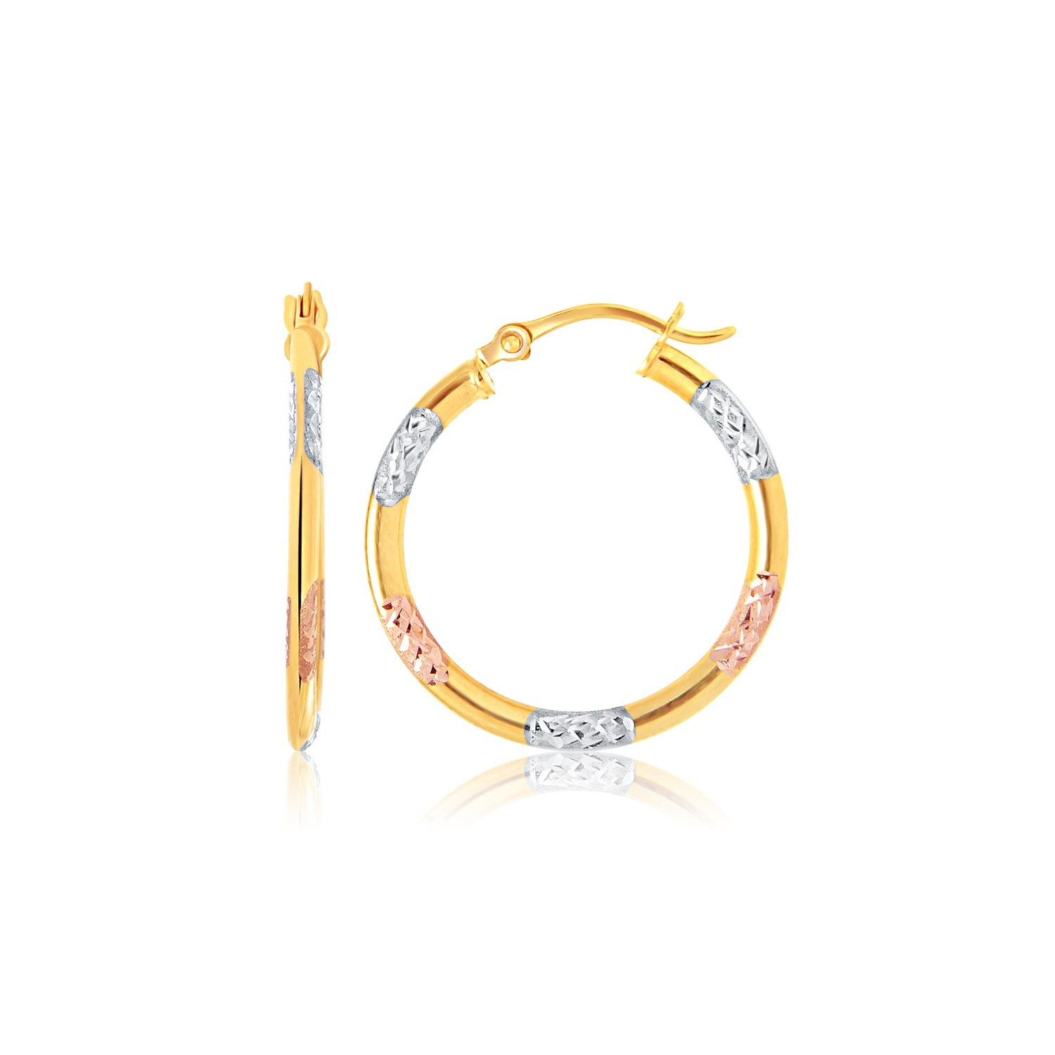 10K Tri-Color Gold Classic Hoop Earrings with Diamond Cut Detail