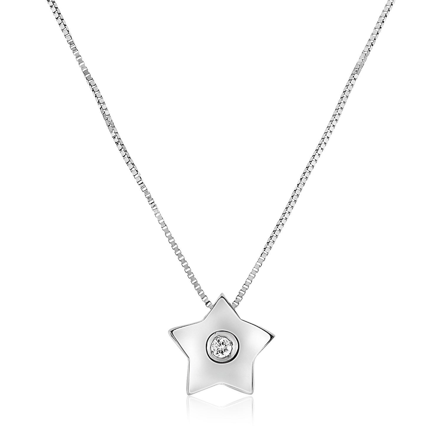 14k white gold necklace with gold and diamond star pendant aloadofball Choice Image