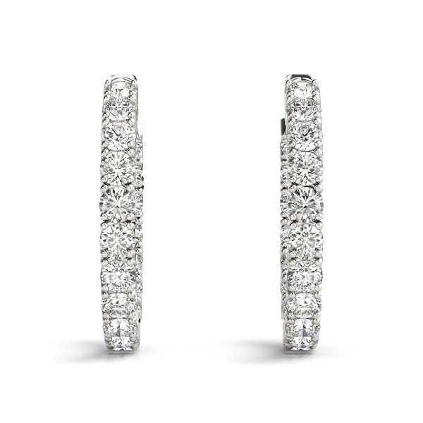 14k White Gold Two Sided Prong Set Diamond Hoop Earrings