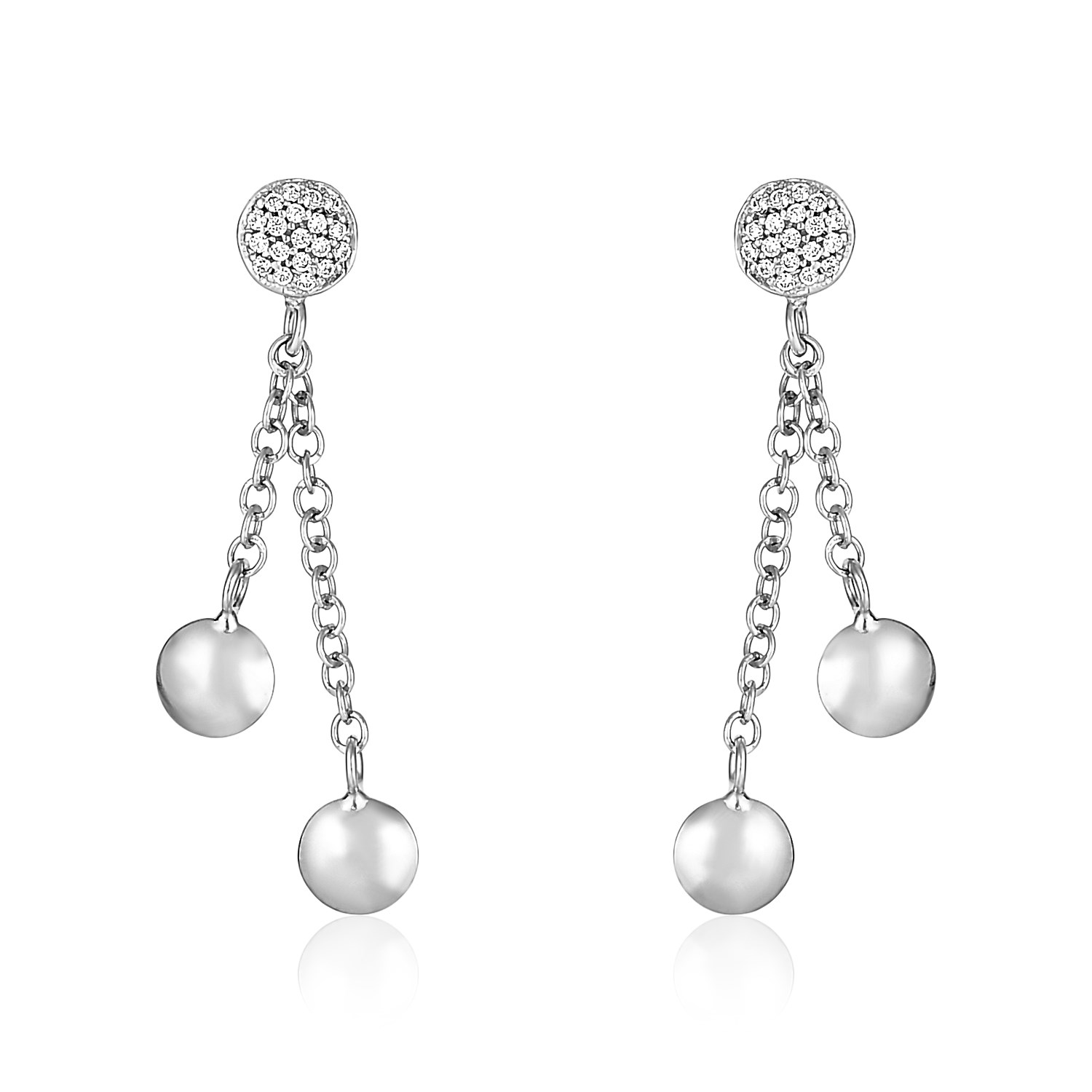 14K White Gold and Diamond Puff Circle Dangle Earrings (1/5 ct.