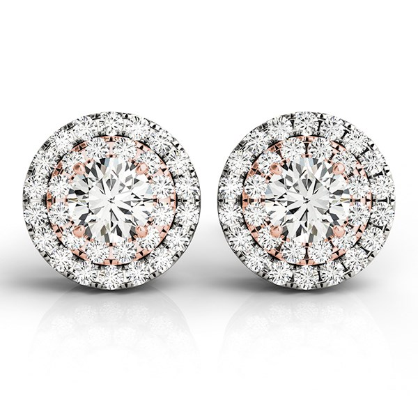14K White and Rose Gold Round Halo Diamond Earrings (3/4 ct. tw.