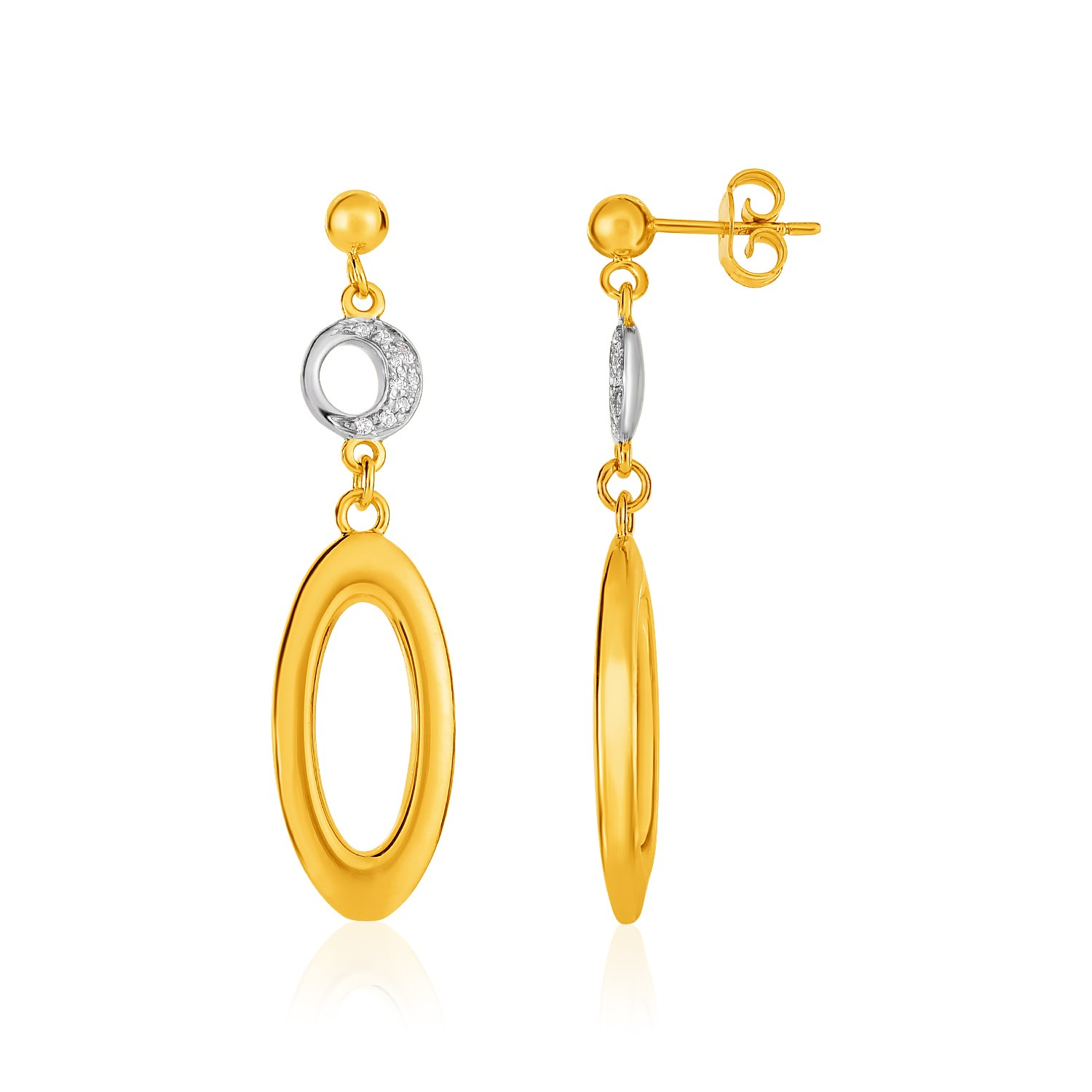 14K Yellow Gold and Diamond Oval and Crescent Moon Earrings (1/1