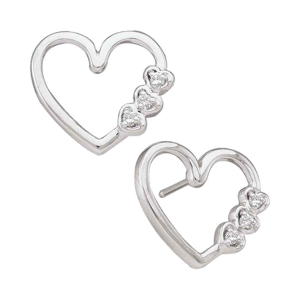 3d17216fa 10kt White Gold Womens Round Diamond Simple Heart Screwback Earrings 1/12  Cttw