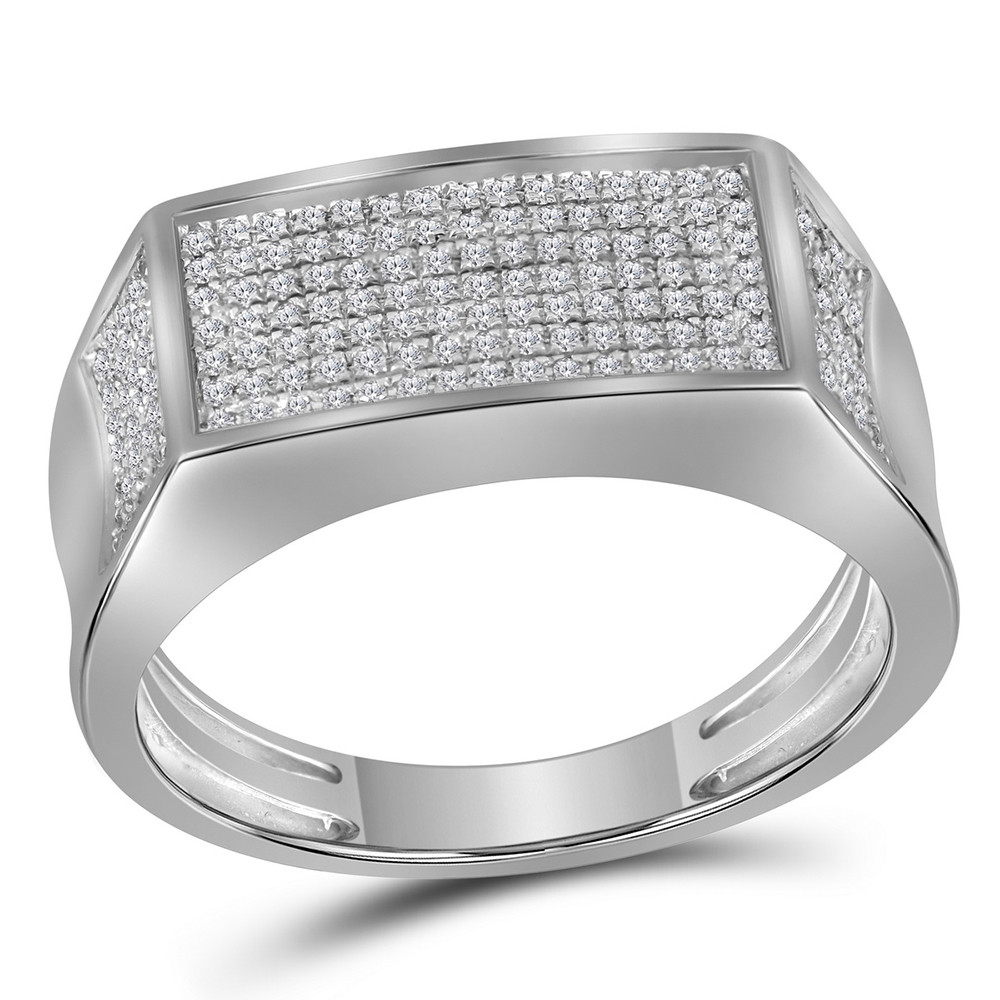 Sterling Silver Mens Round Diamond Rectangle Cluster Fashion Ring 1//3 Cttw