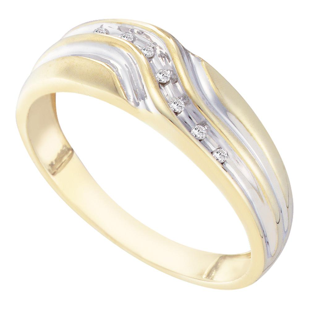 Yellow-tone Sterling Silver Mens Round Diamond Cross Wedding Band Ring 1//20 Cttw