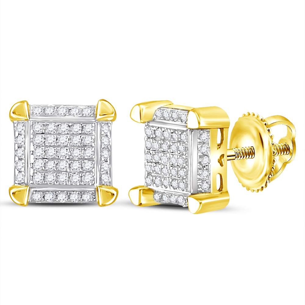 fe7d60c01 10kt Yellow Gold Mens Round Diamond Square Cluster Stud Earrings 1/6 Cttw