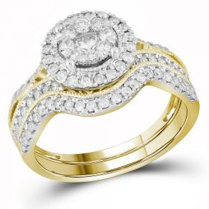 14kt Yellow Gold Womens Round Diamond Bridal Wedding Engagement Ring Band Set 7/