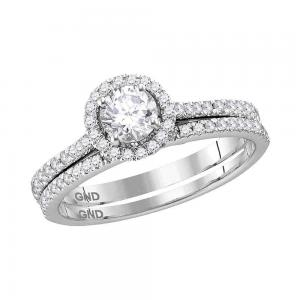14k White Gold Womens Round Diamond Slender Bridal Wedding Engagement Ring Band