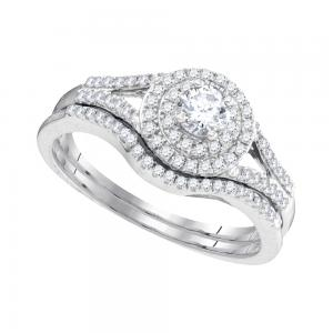 10k White Gold Womens Round Diamond Concentric Halo Bridal Wedding Engagement Ri