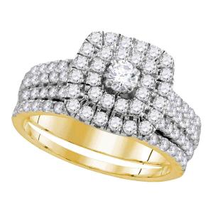 14kt Yellow Gold Womens Round Diamond Certified Double Halo Bridal Wedding Engag