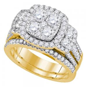 14kt Yellow Gold Womens Round Diamond Cluster Bridal Wedding Engagement Ring Ban