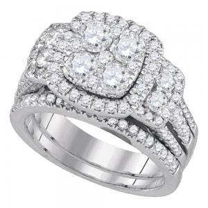 14kt White Gold Womens Round Diamond Cluster Bridal Wedding Engagement Ring Band