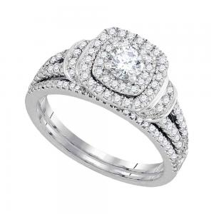 14kt White Gold Womens Diamond Round Double Halo Bridal Wedding Engagement Ring