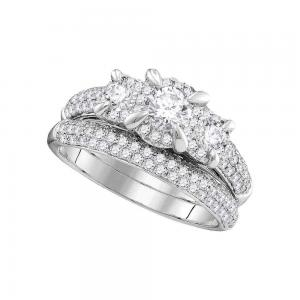 14k White Gold Womens Round 3-stone Diamond Bridal Wedding Engagement Ring Band