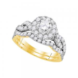 14kt Yellow Gold Womens Round Diamond Bridal Wedding Engagement Ring Band Set 1-