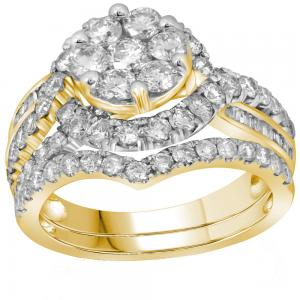 14kt Yellow Gold Womens Round Diamond Flower Cluster Bridal Wedding Engagement R