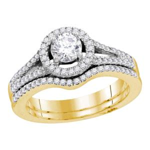 14kt Yellow Gold Womens Round Diamond Bridal Wedding Engagement Ring Band Set 1.