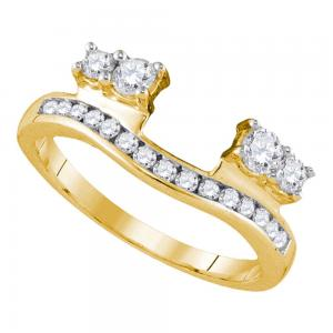 14kt Yellow Gold Womens Round Diamond Ring Guard Wrap Solitaire Enhancer 1/2 Ctt