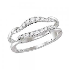 14kt White Gold Womens Round Diamond Ring Guard Wrap Solitaire Enhancer 1/3 Cttw