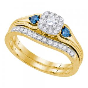 14kt Yellow Gold Womens Round Diamond Bridal Wedding Engagement Ring Band Set 1/