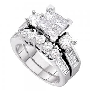 14kt White Gold Womens Princess Diamond Bridal Wedding Engagement Ring Band Set