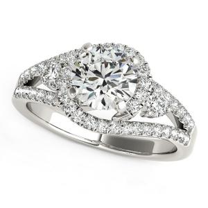 14K White Gold Split Shank Halo Bypass Round Diamond Engagement Ring (1 3/4 ct.