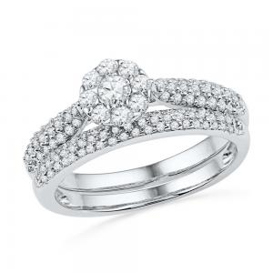 10kt White Gold Womens Round Diamond Cluster Bridal Wedding Engagement Ring Band