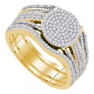 10k Yellow Gold Womens Round Diamond Cluster Bridal Wedding Engagement Ring Band