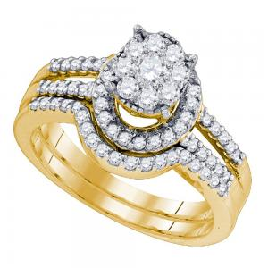 10kt Yellow Gold Womens Round Diamond Elevated Cluster Bridal Wedding Engagement