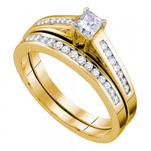 14kt Yellow Gold Womens Princess Diamond Bridal Wedding Engagement Ring Band Set