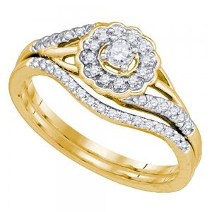 10kt Yellow Gold Womens Round Diamond Flower Floral Bridal Wedding Engagement Ri