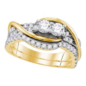 14kt Yellow Gold Womens Round Diamond 2-stone Bridal Wedding Engagement Ring Ban