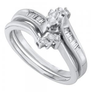 10kt White Gold Womens Marquise Diamond Solitaire Bridal Wedding Engagement Ring