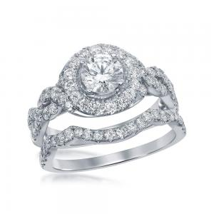 14kt White Gold Womens Round Diamond Bridal Wedding Engagement Ring Band Set 2.0