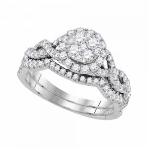14kt White Gold Womens Diamond Cluster Bridal Wedding Engagement Ring Band Set 7