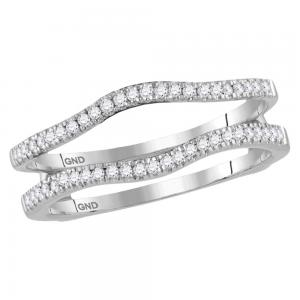 14kt White Gold Womens Round Diamond Ring Guard Wrap Solitaire Enhancer Band 1/4