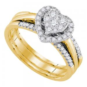 14kt Yellow Gold Womens Diamond Heart Bridal Wedding Engagement Ring Band Set 1/