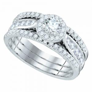 14kt White Gold Womens Round Diamond 3-Piece Bridal Wedding Engagement Ring Band